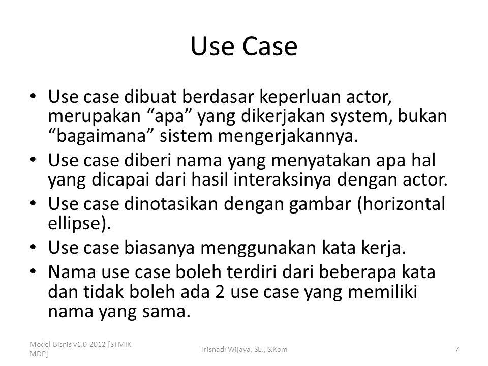 Use Case Use case dibuat berdasar keperluan actor, merupakan apa yang dikerjakan system, bukan bagaimana sistem mengerjakannya.