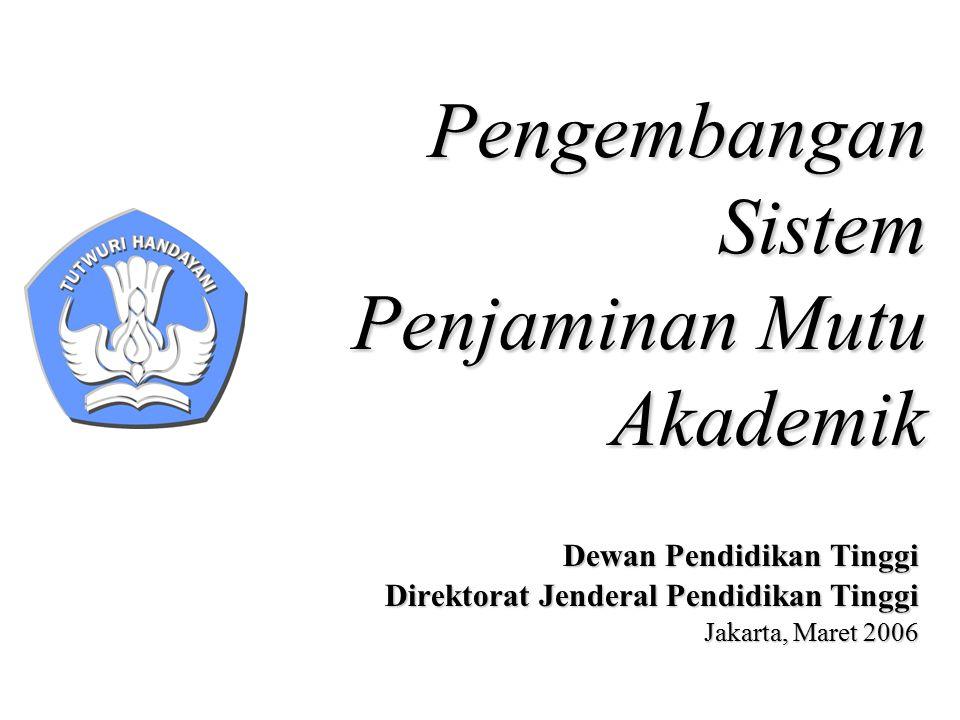 Pengembangan Sistem Penjaminan Mutu Akademik Dewan Pendidikan Tinggi Direktorat Jenderal Pendidikan Tinggi Jakarta, Maret 2006
