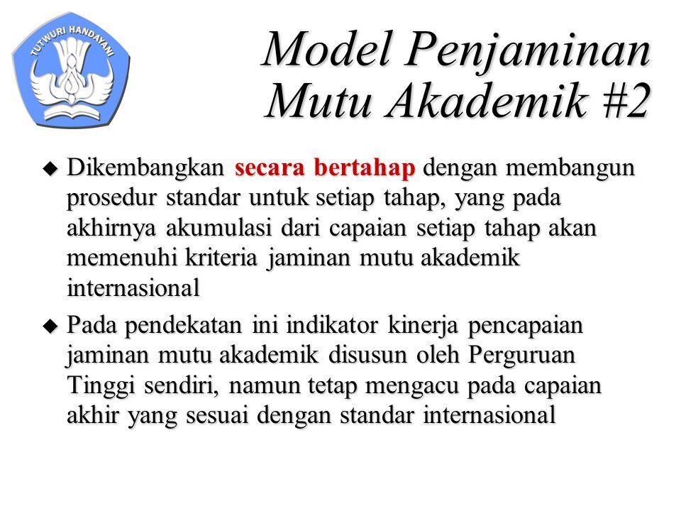 Model Penjaminan Mutu Akademik #2  Dikembangkan secara bertahap dengan membangun prosedur standar untuk setiap tahap, yang pada akhirnya akumulasi da