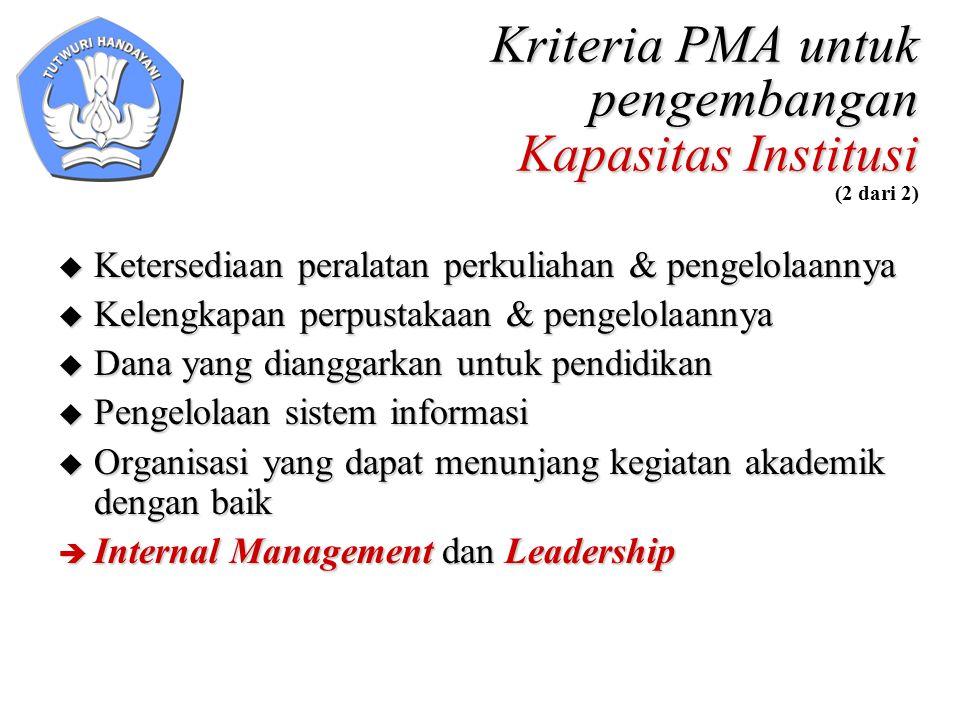 Kriteria PMA untuk pengembangan Kapasitas Institusi Kriteria PMA untuk pengembangan Kapasitas Institusi (2 dari 2)  Ketersediaan peralatan perkuliaha