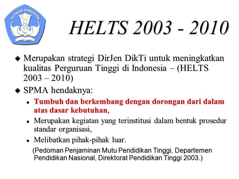 HELTS 2003 - 2010  Merupakan strategi DirJen DikTi untuk meningkatkan kualitas Perguruan Tinggi di Indonesia – (HELTS 2003 – 2010)  SPMA hendaknya: