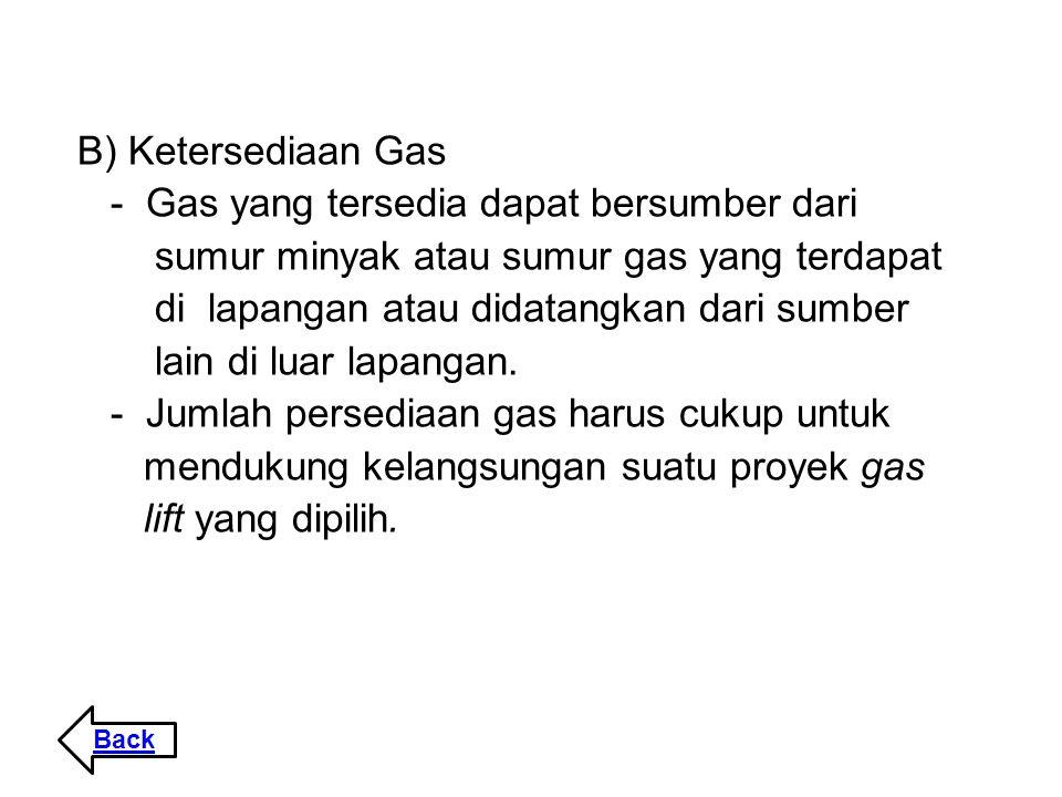 B) Ketersediaan Gas - Gas yang tersedia dapat bersumber dari sumur minyak atau sumur gas yang terdapat di lapangan atau didatangkan dari sumber lain d