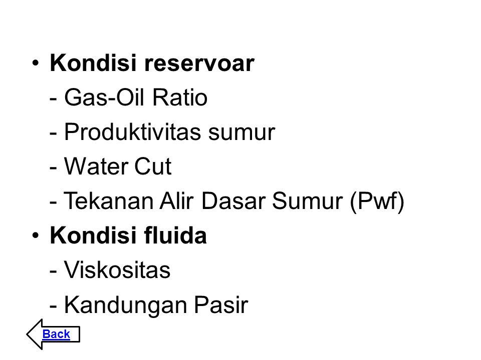 Kondisi reservoar - Gas-Oil Ratio - Produktivitas sumur - Water Cut - Tekanan Alir Dasar Sumur (Pwf) Kondisi fluida - Viskositas - Kandungan Pasir Bac