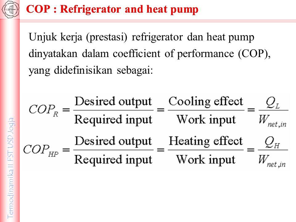 Termodinamika II FST USD Jogja COP : Refrigerator and heat pump Unjuk kerja (prestasi) refrigerator dan heat pump dinyatakan dalam coefficient of perf