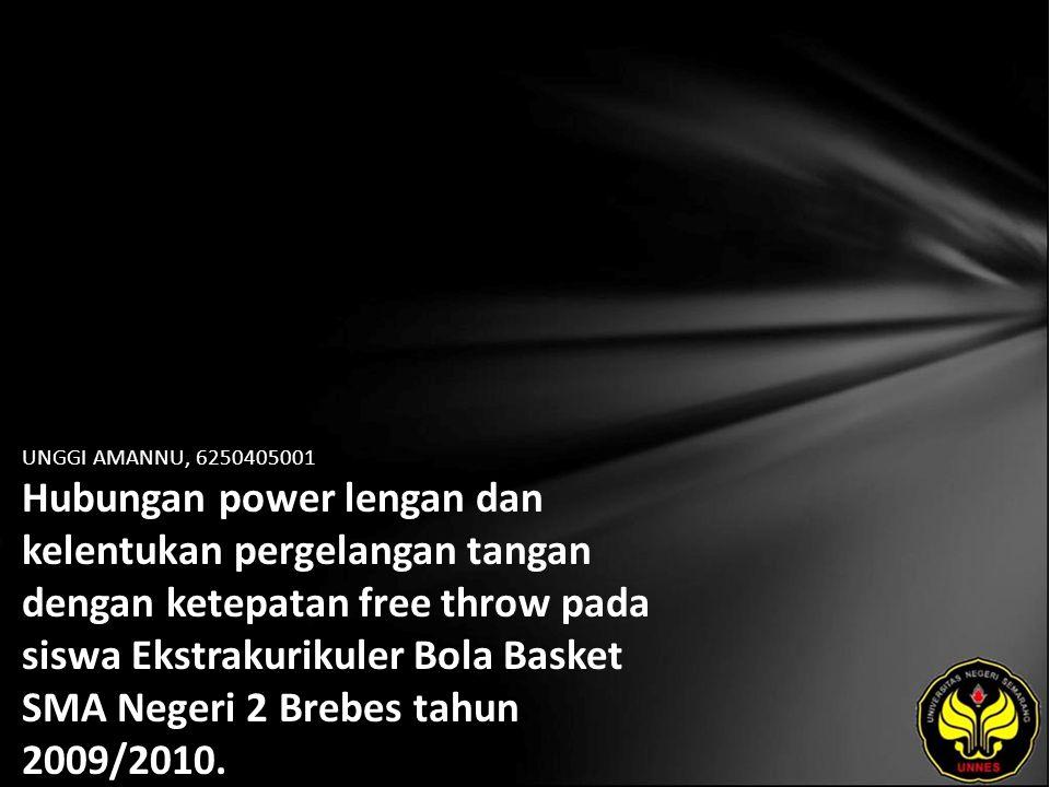 UNGGI AMANNU, 6250405001 Hubungan power lengan dan kelentukan pergelangan tangan dengan ketepatan free throw pada siswa Ekstrakurikuler Bola Basket SM