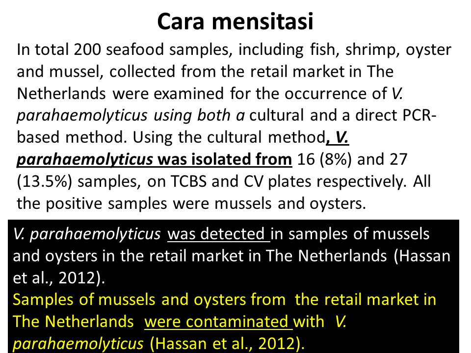 Cara mensitasi In total 200 seafood samples, including fish, shrimp, oyster and mussel, collected from the retail market in The Netherlands were exami