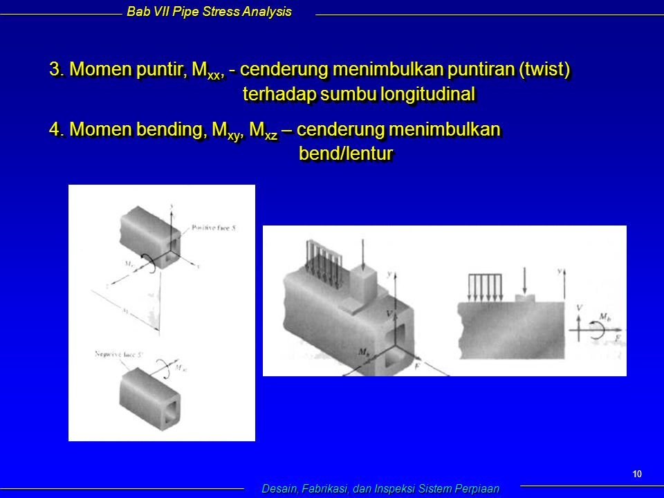 Bab VII Pipe Stress Analysis Desain, Fabrikasi, dan Inspeksi Sistem Perpiaan 10 3.