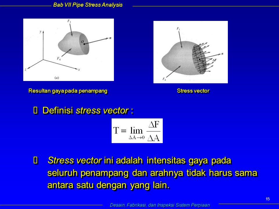 Bab VII Pipe Stress Analysis Desain, Fabrikasi, dan Inspeksi Sistem Perpiaan 15  Definisi stress vector :   Stress vector ini adalah intensitas gaya pada seluruh penampang dan arahnya tidak harus sama antara satu dengan yang lain.