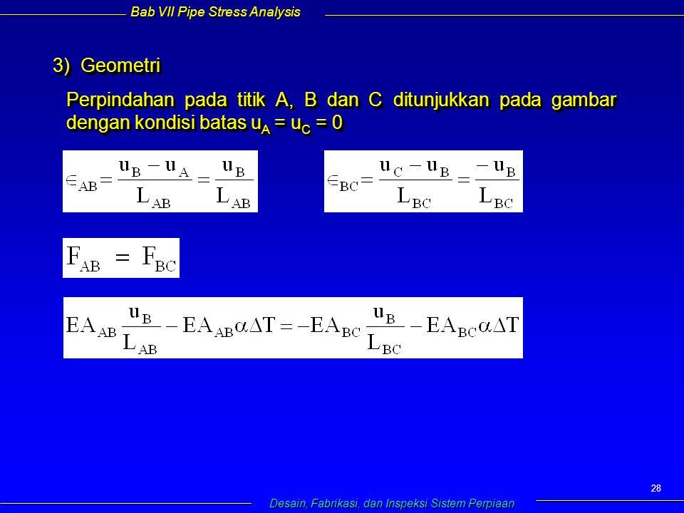 Bab VII Pipe Stress Analysis Desain, Fabrikasi, dan Inspeksi Sistem Perpiaan 28 3) Geometri 3) Geometri Perpindahan pada titik A, B dan C ditunjukkan pada gambar dengan kondisi batas u A = u C = 0 3) Geometri 3) Geometri Perpindahan pada titik A, B dan C ditunjukkan pada gambar dengan kondisi batas u A = u C = 0