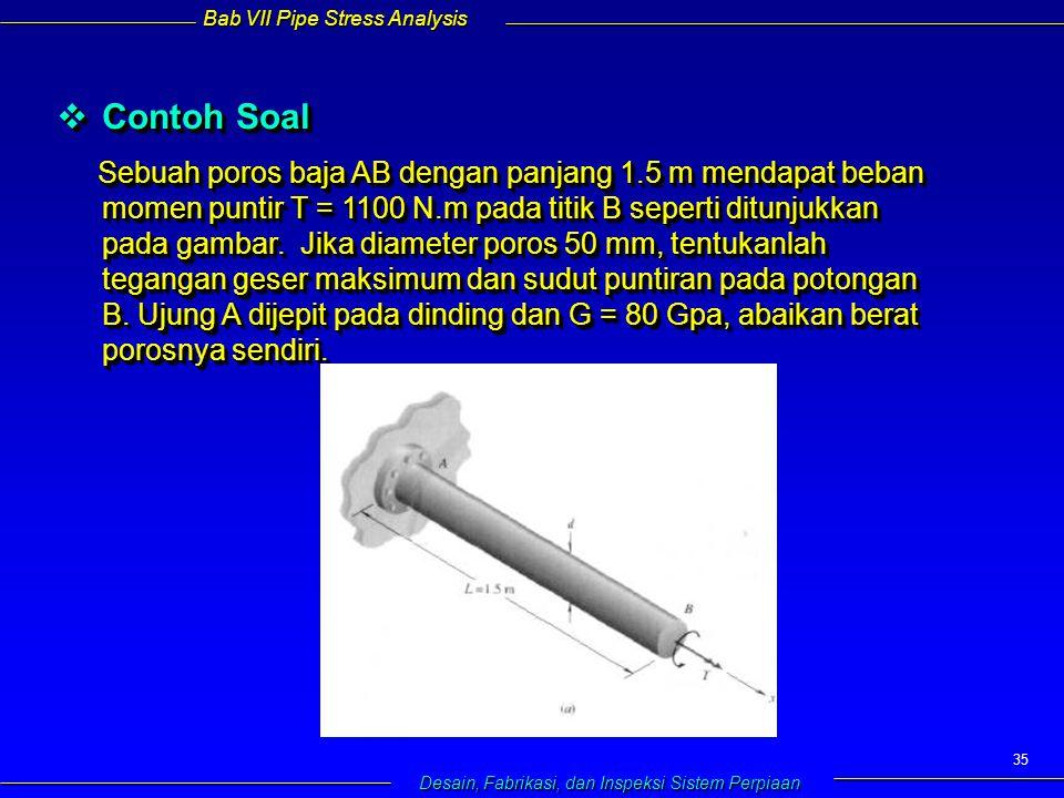 Bab VII Pipe Stress Analysis Desain, Fabrikasi, dan Inspeksi Sistem Perpiaan 35  Contoh Soal Sebuah poros baja AB dengan panjang 1.5 m mendapat beban momen puntir T = 1100 N.m pada titik B seperti ditunjukkan pada gambar.