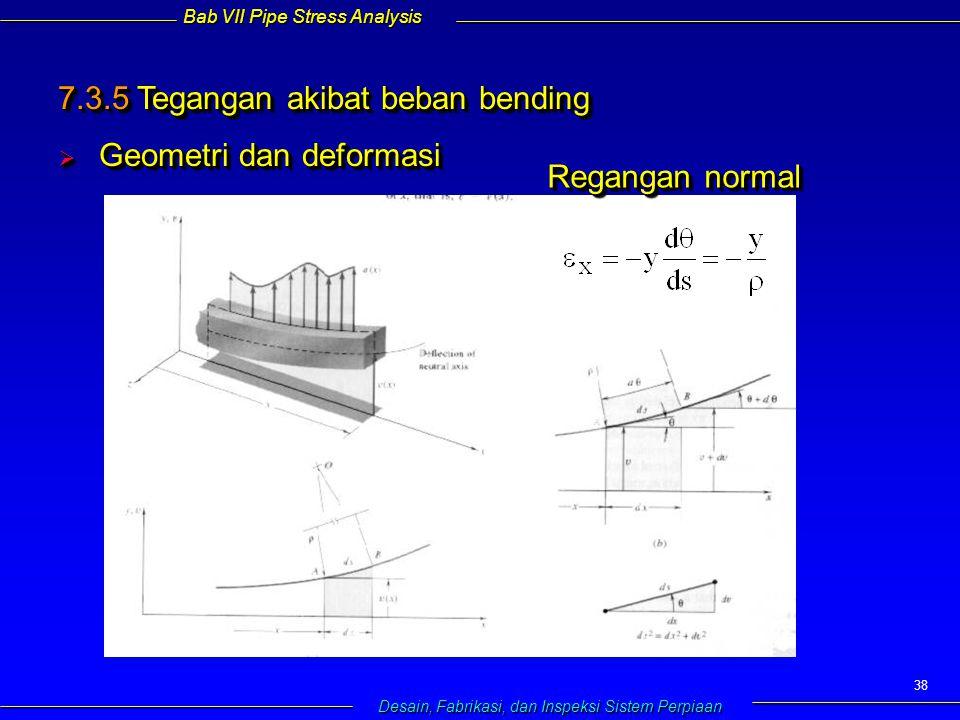 Bab VII Pipe Stress Analysis Desain, Fabrikasi, dan Inspeksi Sistem Perpiaan 38 7.3.5 Tegangan akibat beban bending  Geometri dan deformasi  Geometri dan deformasi 7.3.5 Tegangan akibat beban bending  Geometri dan deformasi  Geometri dan deformasi Regangan normal