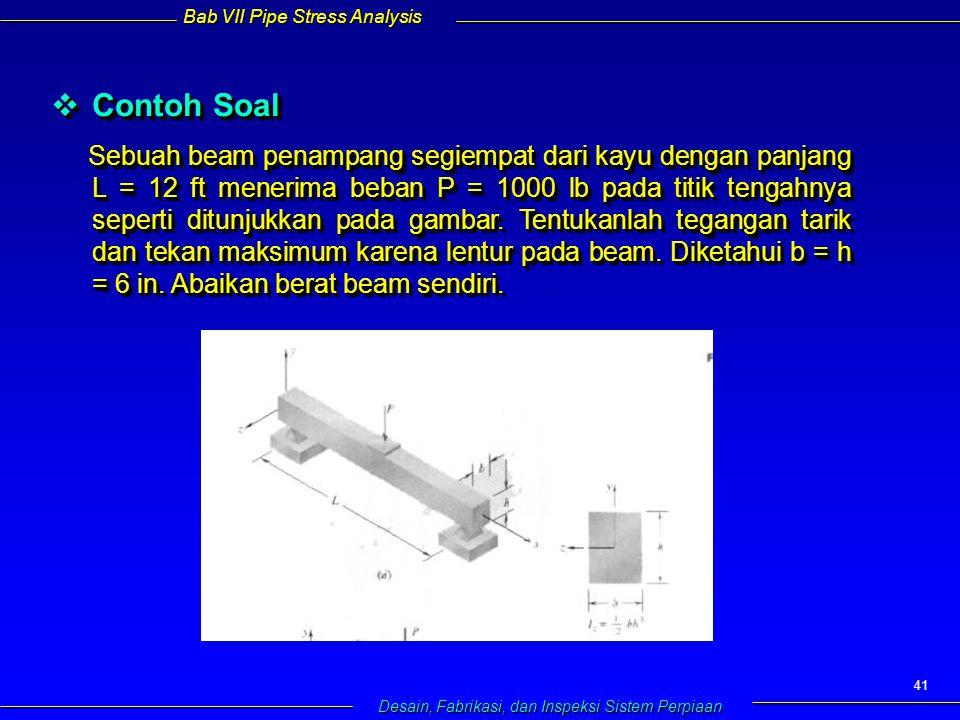Bab VII Pipe Stress Analysis Desain, Fabrikasi, dan Inspeksi Sistem Perpiaan 41  Contoh Soal Sebuah beam penampang segiempat dari kayu dengan panjang L = 12 ft menerima beban P = 1000 lb pada titik tengahnya seperti ditunjukkan pada gambar.