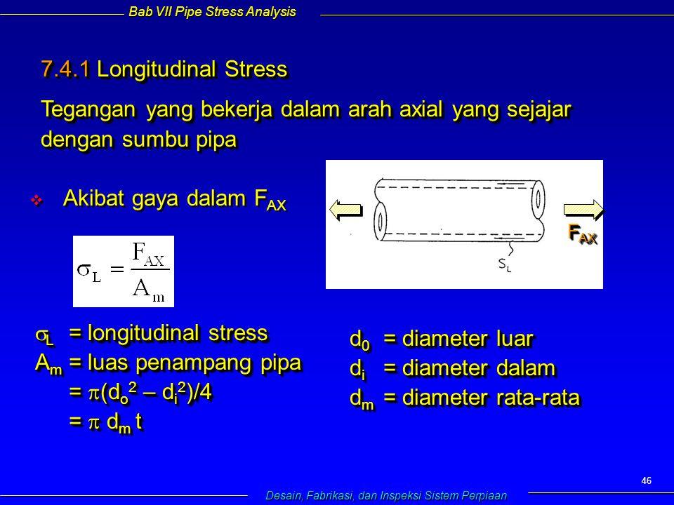 Bab VII Pipe Stress Analysis Desain, Fabrikasi, dan Inspeksi Sistem Perpiaan 46 7.4.1 Longitudinal Stress Tegangan yang bekerja dalam arah axial yang sejajar dengan sumbu pipa 7.4.1 Longitudinal Stress Tegangan yang bekerja dalam arah axial yang sejajar dengan sumbu pipa   Akibat gaya dalam F AX  L = longitudinal stress A m = luas penampang pipa =  (d o 2 – d i 2 )/4 =  d m t  L = longitudinal stress A m = luas penampang pipa =  (d o 2 – d i 2 )/4 =  d m t d 0 = diameter luar d i = diameter dalam d m = diameter rata-rata d 0 = diameter luar d i = diameter dalam d m = diameter rata-rata F AX