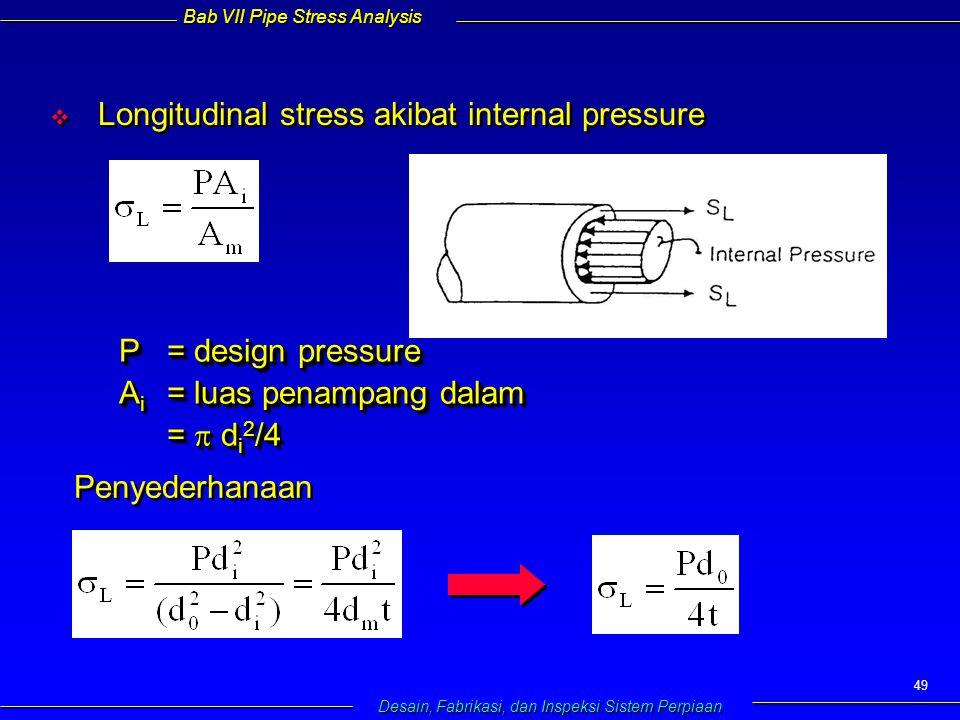 Bab VII Pipe Stress Analysis Desain, Fabrikasi, dan Inspeksi Sistem Perpiaan 49   Longitudinal stress akibat internal pressure P= design pressure A i = luas penampang dalam =  d i 2 /4 P= design pressure A i = luas penampang dalam =  d i 2 /4 Penyederhanaan
