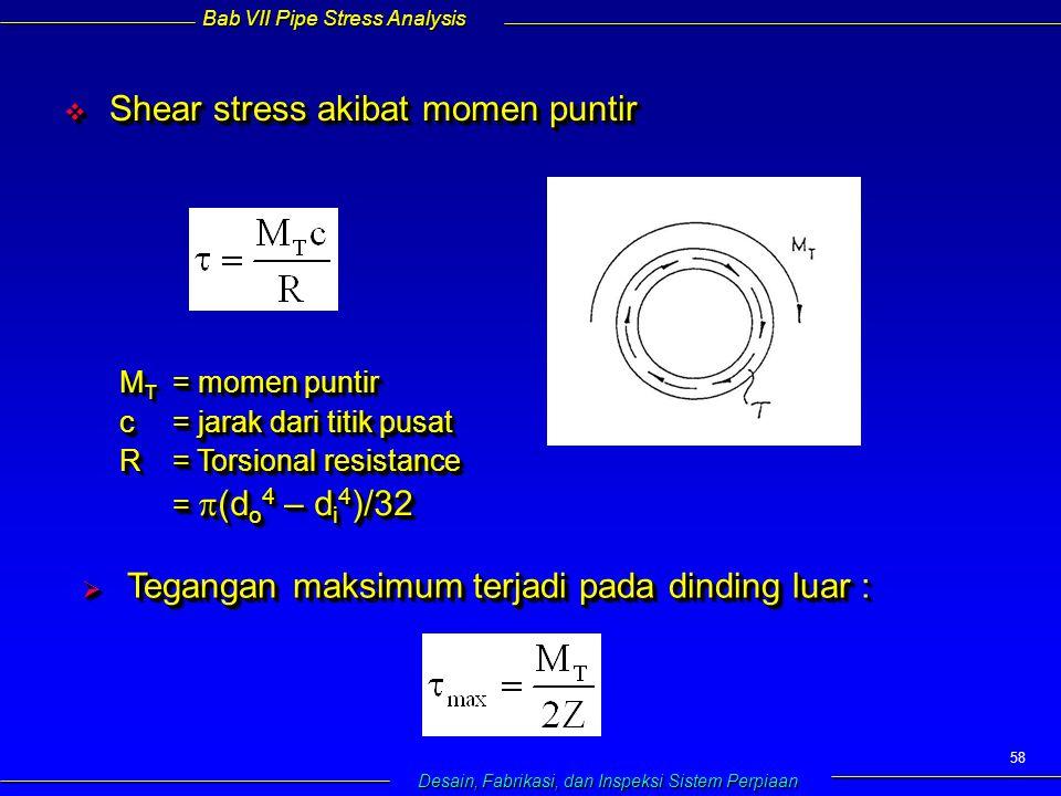 Bab VII Pipe Stress Analysis Desain, Fabrikasi, dan Inspeksi Sistem Perpiaan 58  Shear stress akibat momen puntir M T = momen puntir c= jarak dari titik pusat R= Torsional resistance =  (d o 4 – d i 4 )/32 M T = momen puntir c= jarak dari titik pusat R= Torsional resistance =  (d o 4 – d i 4 )/32  Tegangan maksimum terjadi pada dinding luar :