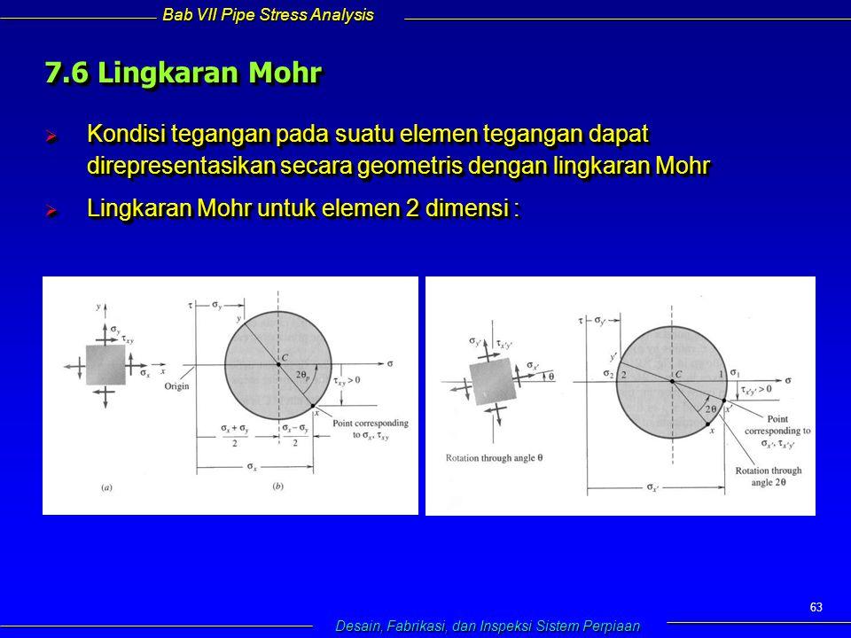 Bab VII Pipe Stress Analysis Desain, Fabrikasi, dan Inspeksi Sistem Perpiaan 63  Kondisi tegangan pada suatu elemen tegangan dapat direpresentasikan secara geometris dengan lingkaran Mohr  Lingkaran Mohr untuk elemen 2 dimensi :  Kondisi tegangan pada suatu elemen tegangan dapat direpresentasikan secara geometris dengan lingkaran Mohr  Lingkaran Mohr untuk elemen 2 dimensi : 7.6 Lingkaran Mohr
