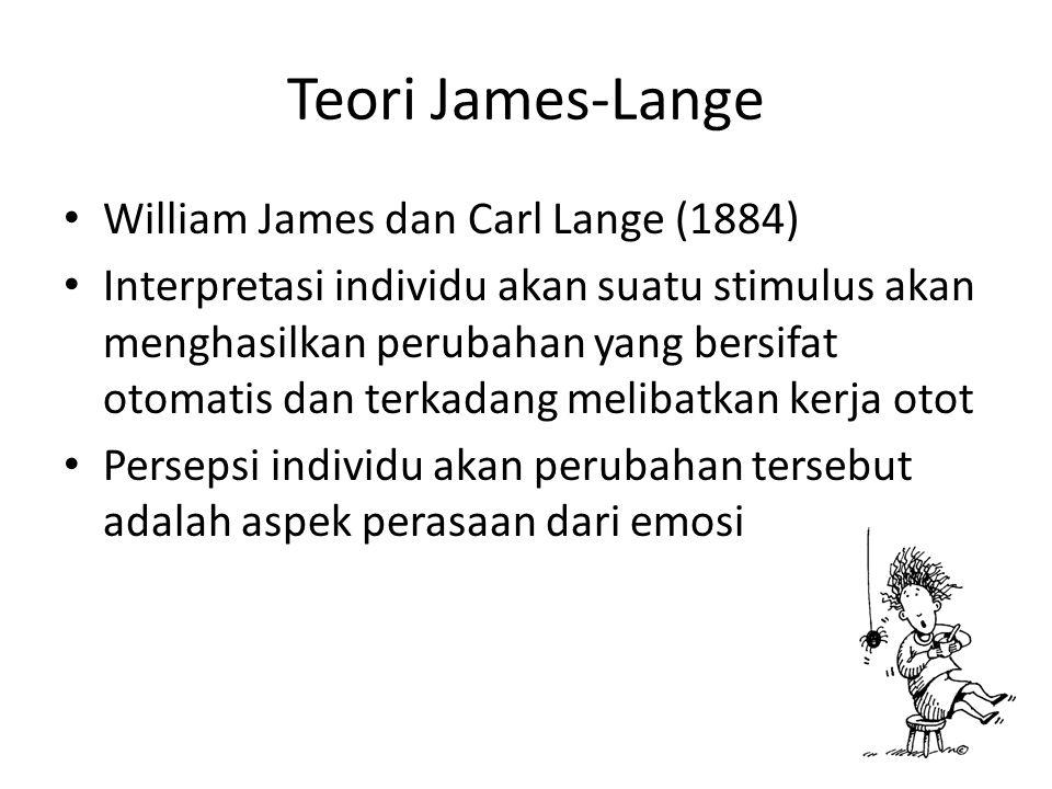Teori James-Lange William James dan Carl Lange (1884) Interpretasi individu akan suatu stimulus akan menghasilkan perubahan yang bersifat otomatis dan