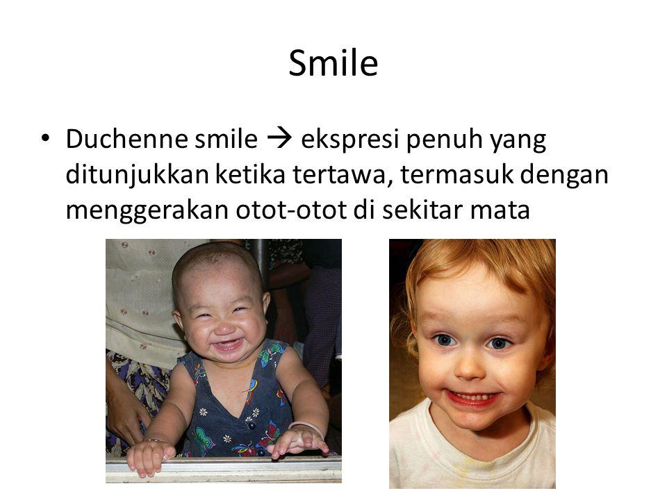Smile Duchenne smile  ekspresi penuh yang ditunjukkan ketika tertawa, termasuk dengan menggerakan otot-otot di sekitar mata