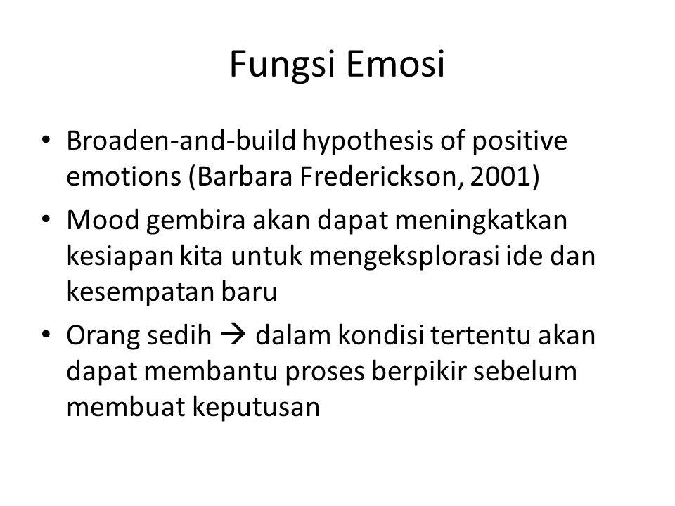 Fungsi Emosi Broaden-and-build hypothesis of positive emotions (Barbara Frederickson, 2001) Mood gembira akan dapat meningkatkan kesiapan kita untuk m