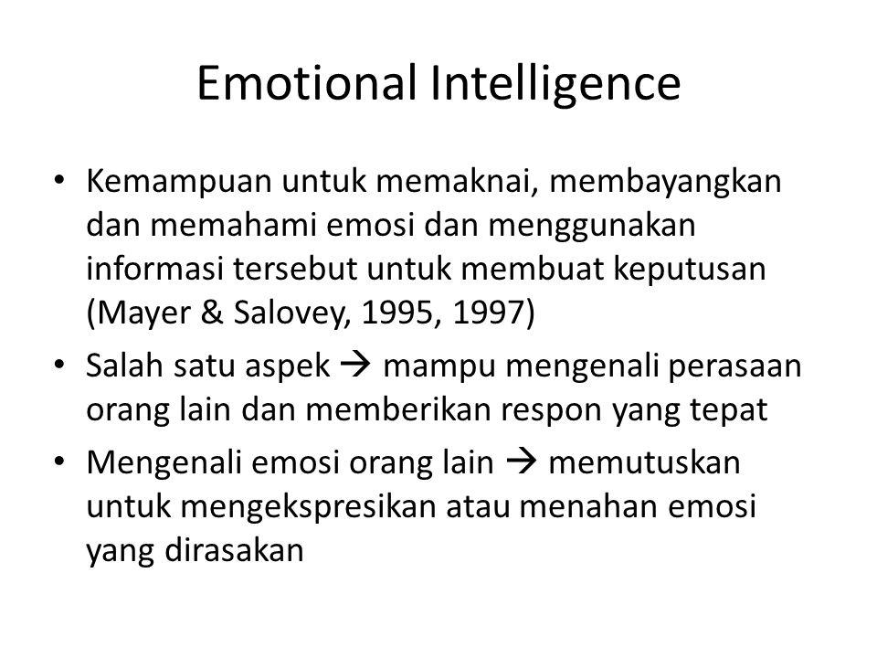 Emotional Intelligence Kemampuan untuk memaknai, membayangkan dan memahami emosi dan menggunakan informasi tersebut untuk membuat keputusan (Mayer & S
