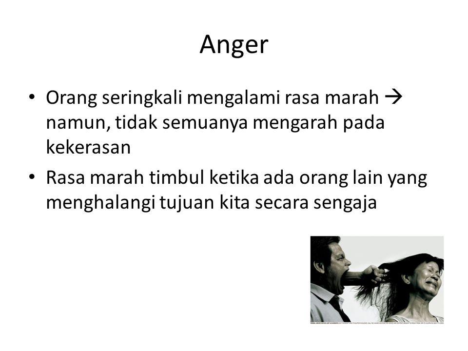 Anger Orang seringkali mengalami rasa marah  namun, tidak semuanya mengarah pada kekerasan Rasa marah timbul ketika ada orang lain yang menghalangi t
