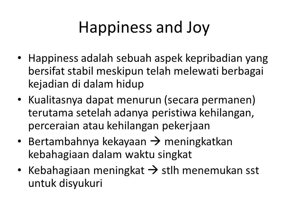 Happiness and Joy Happiness adalah sebuah aspek kepribadian yang bersifat stabil meskipun telah melewati berbagai kejadian di dalam hidup Kualitasnya