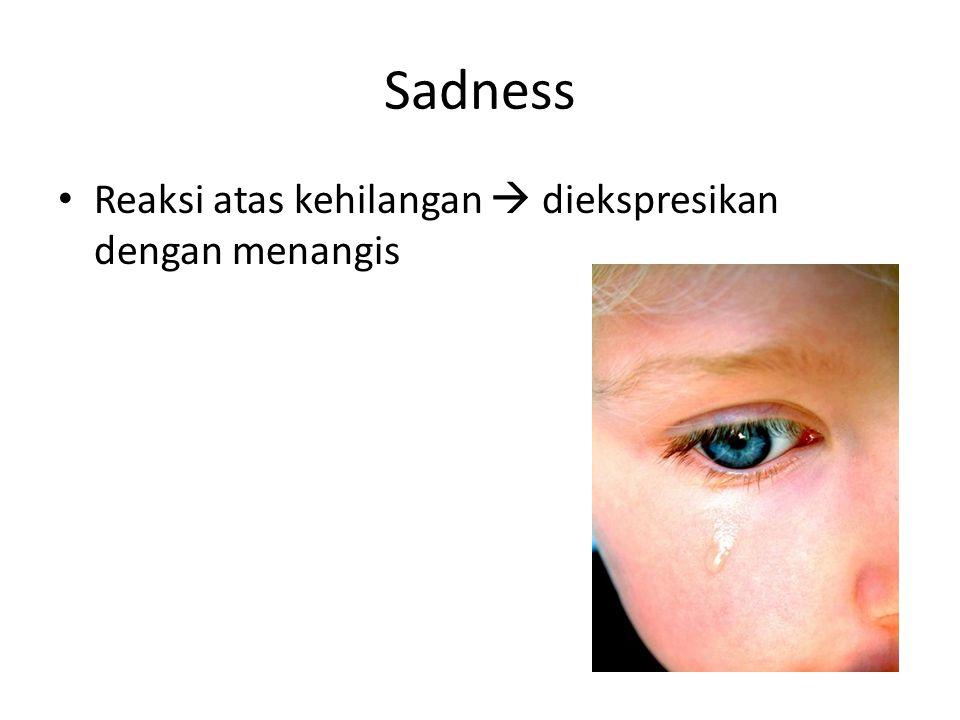 Sadness Reaksi atas kehilangan  diekspresikan dengan menangis