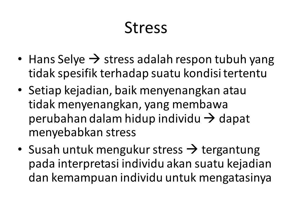 Stress Hans Selye  stress adalah respon tubuh yang tidak spesifik terhadap suatu kondisi tertentu Setiap kejadian, baik menyenangkan atau tidak menye