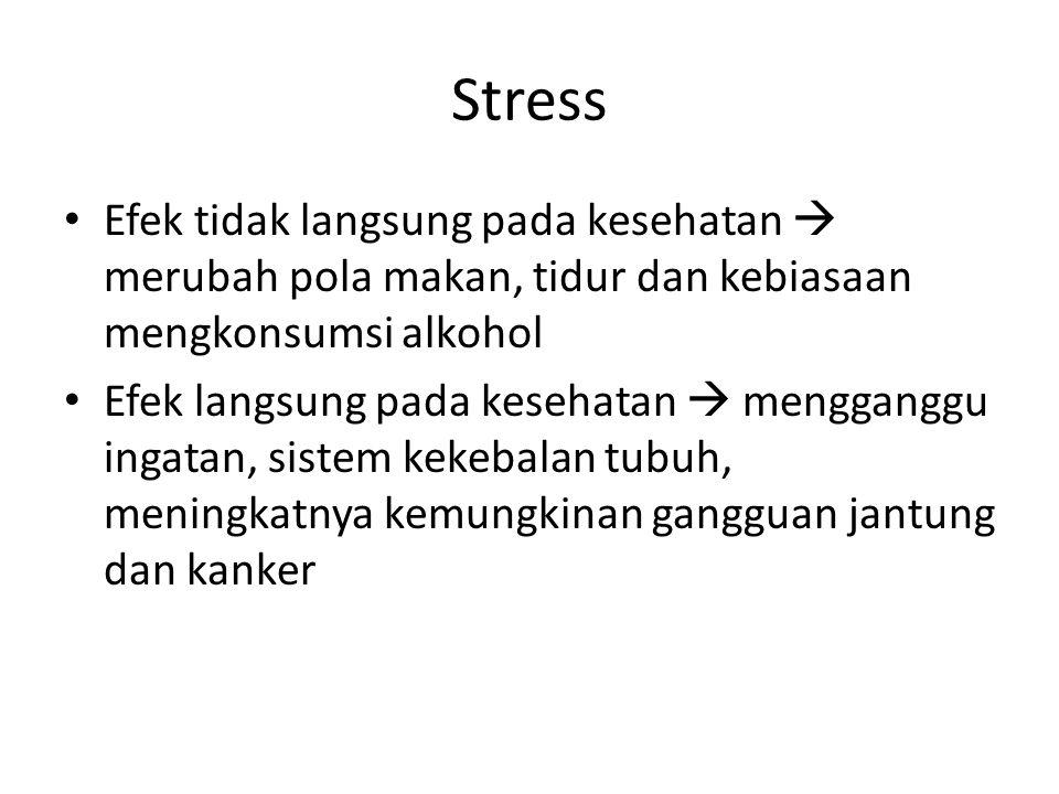 Stress Efek tidak langsung pada kesehatan  merubah pola makan, tidur dan kebiasaan mengkonsumsi alkohol Efek langsung pada kesehatan  mengganggu ing