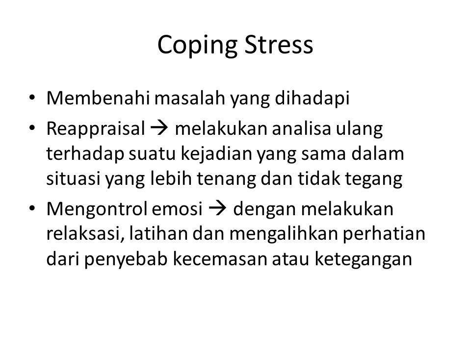 Coping Stress Membenahi masalah yang dihadapi Reappraisal  melakukan analisa ulang terhadap suatu kejadian yang sama dalam situasi yang lebih tenang