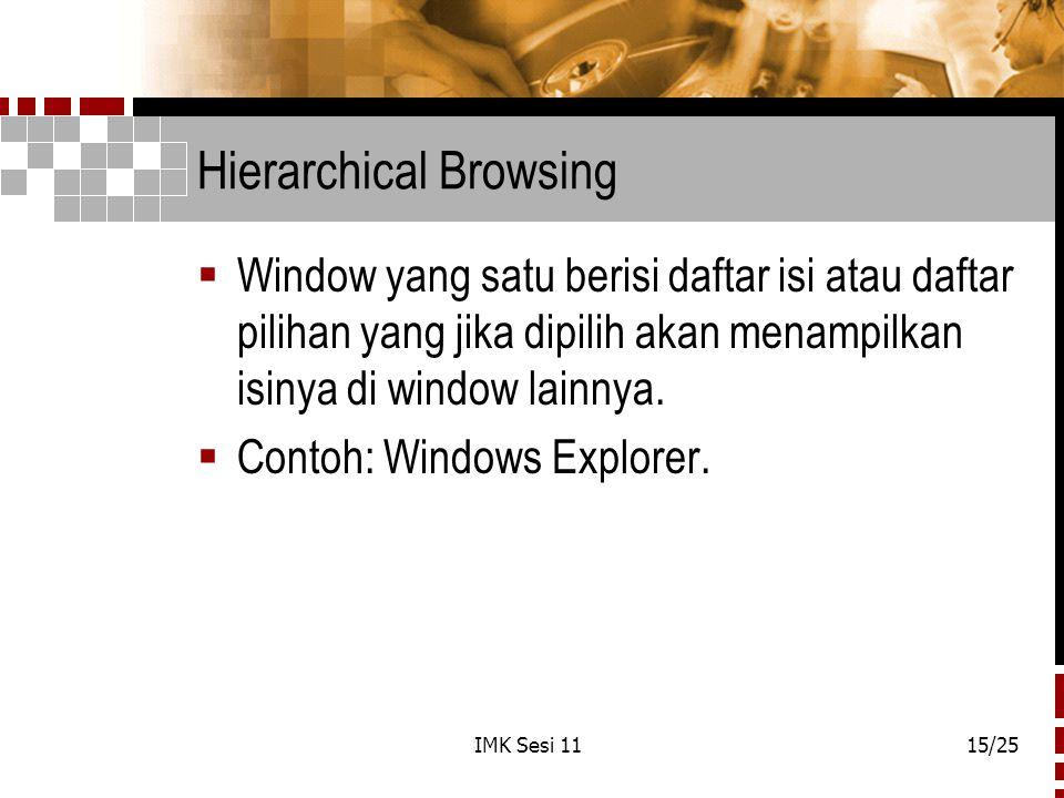 IMK Sesi 1115/25 Hierarchical Browsing  Window yang satu berisi daftar isi atau daftar pilihan yang jika dipilih akan menampilkan isinya di window la