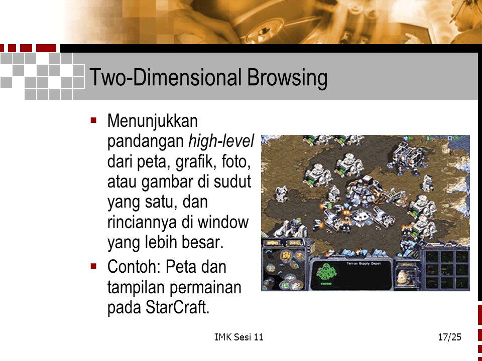 IMK Sesi 1117/25 Two-Dimensional Browsing  Menunjukkan pandangan high-level dari peta, grafik, foto, atau gambar di sudut yang satu, dan rinciannya d