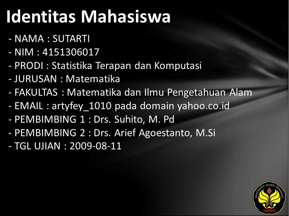 Identitas Mahasiswa - NAMA : SUTARTI - NIM : 4151306017 - PRODI : Statistika Terapan dan Komputasi - JURUSAN : Matematika - FAKULTAS : Matematika dan Ilmu Pengetahuan Alam - EMAIL : artyfey_1010 pada domain yahoo.co.id - PEMBIMBING 1 : Drs.