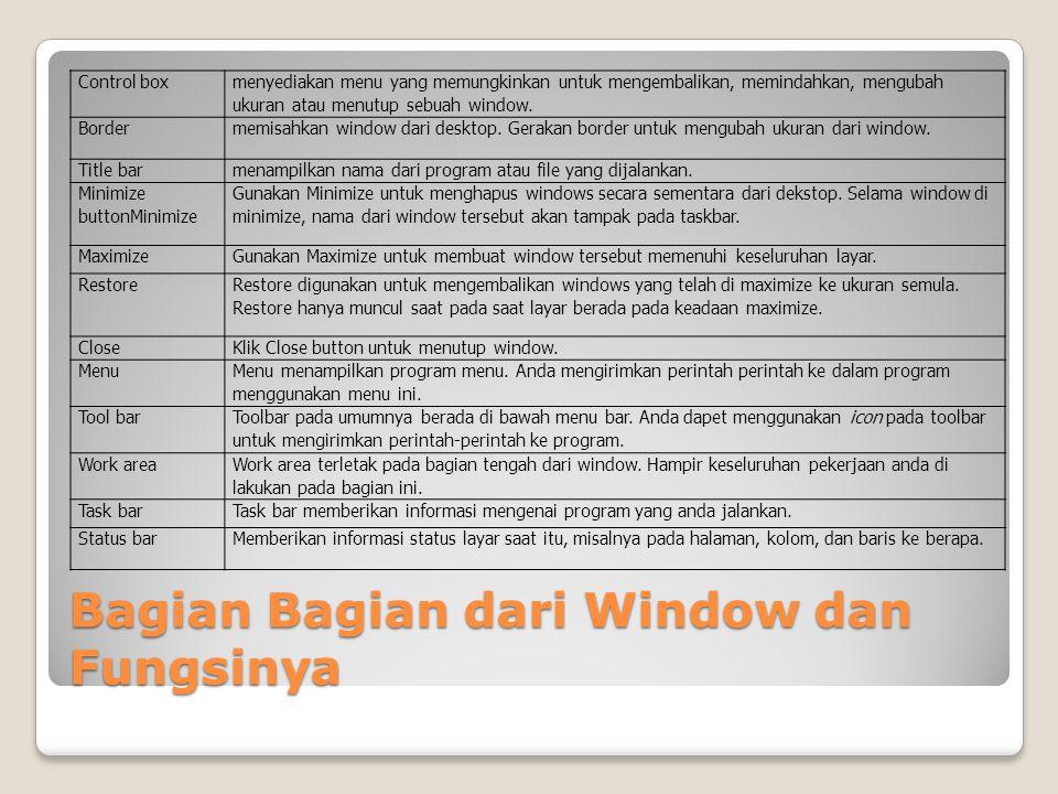 Bagian Bagian dari Window dan Fungsinya Control box menyediakan menu yang memungkinkan untuk mengembalikan, memindahkan, mengubah ukuran atau menutup