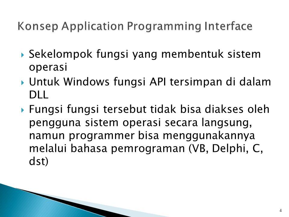  Sekelompok fungsi yang membentuk sistem operasi  Untuk Windows fungsi API tersimpan di dalam DLL  Fungsi fungsi tersebut tidak bisa diakses oleh p