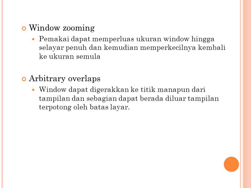 Window zooming Pemakai dapat memperluas ukuran window hingga selayar penuh dan kemudian memperkecilnya kembali ke ukuran semula Arbitrary overlaps Win