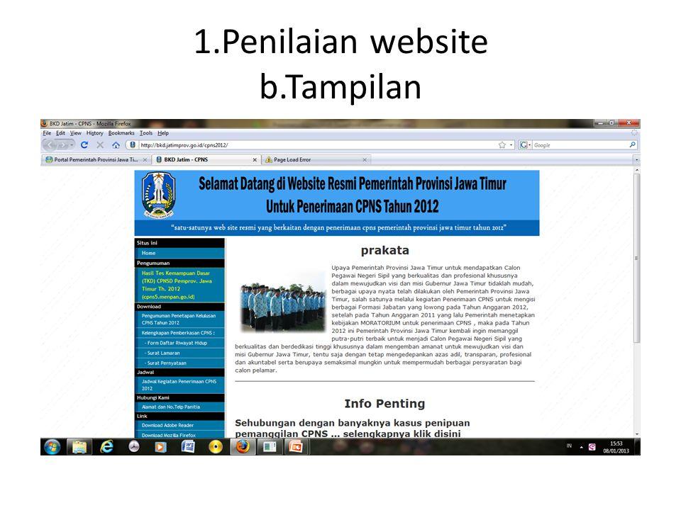 1.Penilaian website b.Tampilan