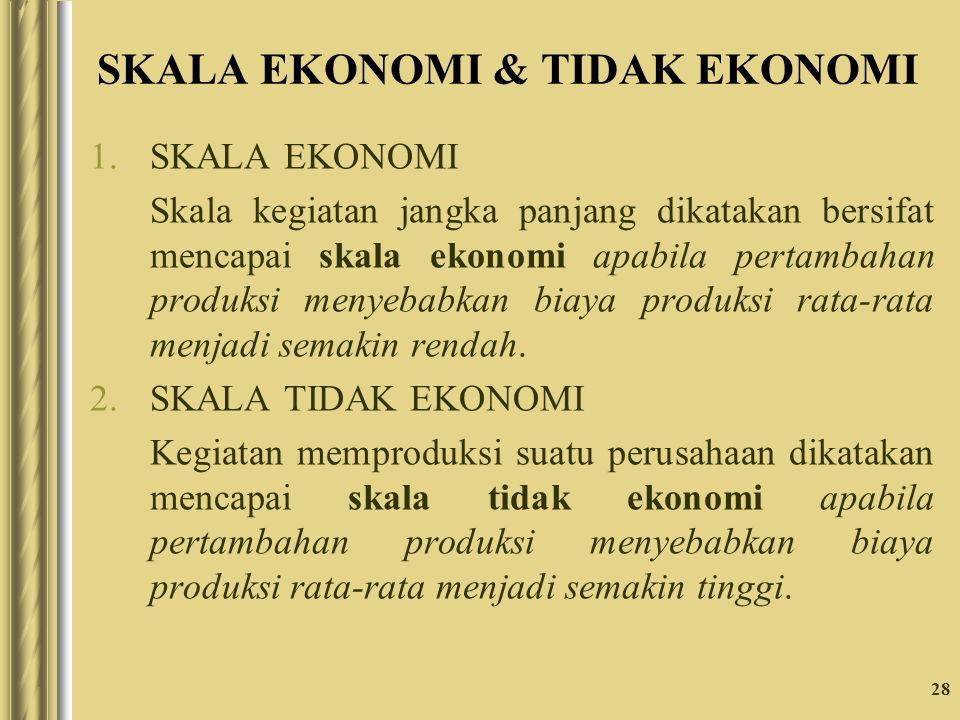 28 SKALA EKONOMI & TIDAK EKONOMI 1.SKALA EKONOMI Skala kegiatan jangka panjang dikatakan bersifat mencapai skala ekonomi apabila pertambahan produksi menyebabkan biaya produksi rata-rata menjadi semakin rendah.