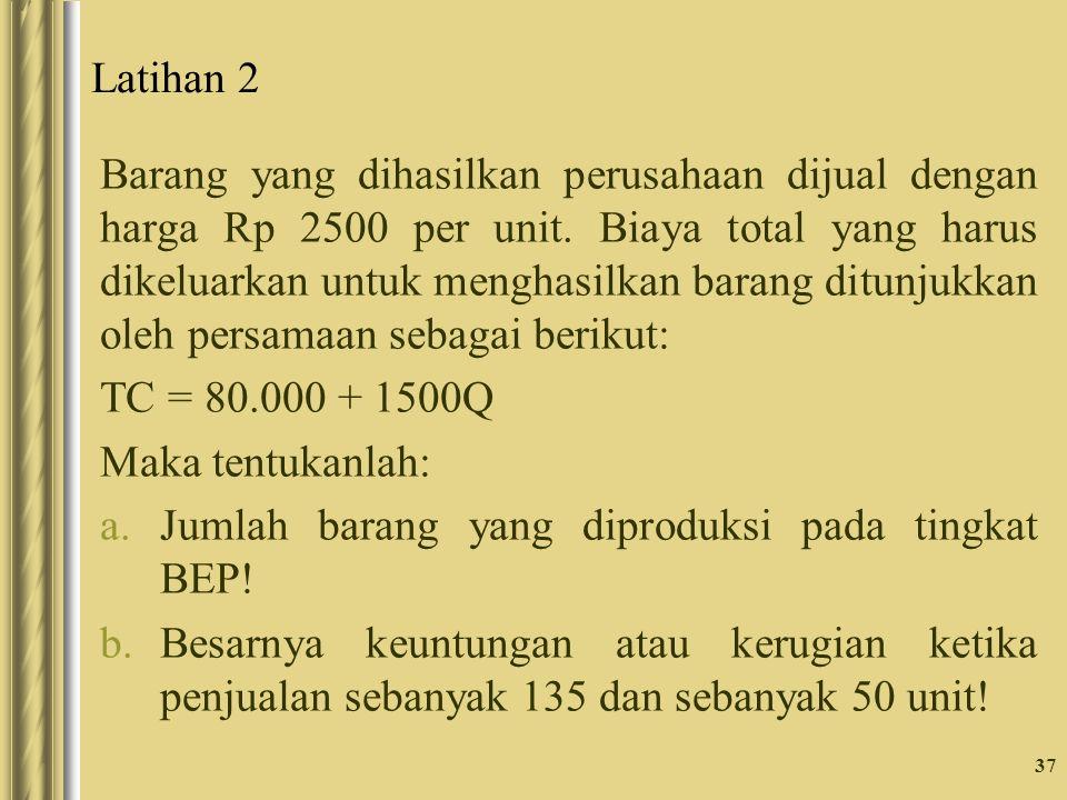 Latihan 2 Barang yang dihasilkan perusahaan dijual dengan harga Rp 2500 per unit.