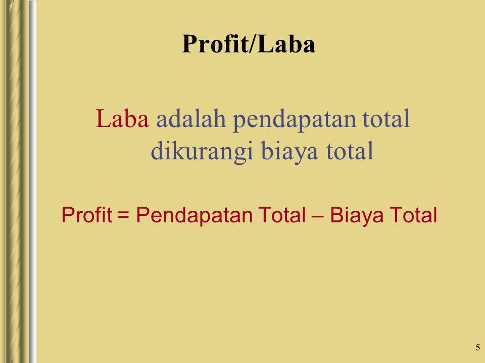 5 Profit/Laba Laba adalah pendapatan total dikurangi biaya total Profit = Pendapatan Total – Biaya Total