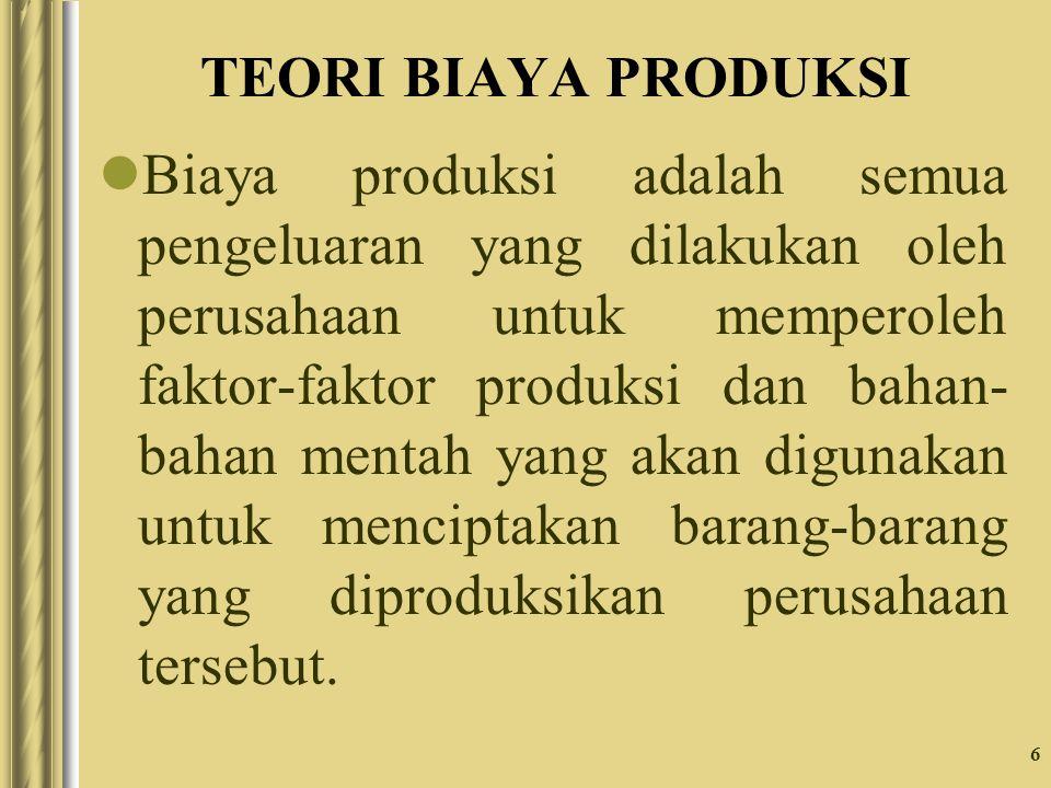 6 TEORI BIAYA PRODUKSI Biaya produksi adalah semua pengeluaran yang dilakukan oleh perusahaan untuk memperoleh faktor-faktor produksi dan bahan- bahan mentah yang akan digunakan untuk menciptakan barang-barang yang diproduksikan perusahaan tersebut.