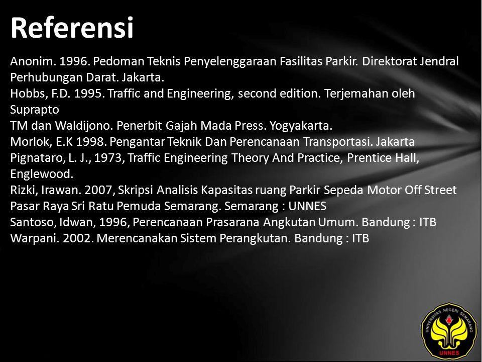 Referensi Anonim. 1996. Pedoman Teknis Penyelenggaraan Fasilitas Parkir. Direktorat Jendral Perhubungan Darat. Jakarta. Hobbs, F.D. 1995. Traffic and