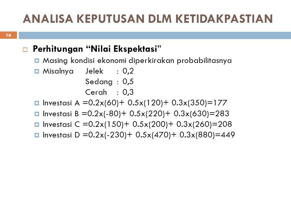 """ANALISA KEPUTUSAN DLM KETIDAKPASTIAN  Perhitungan """"Nilai Ekspektasi""""  Masing kondisi ekonomi diperkirakan probabilitasnya  Misalnya Jelek:0,2 Sedan"""