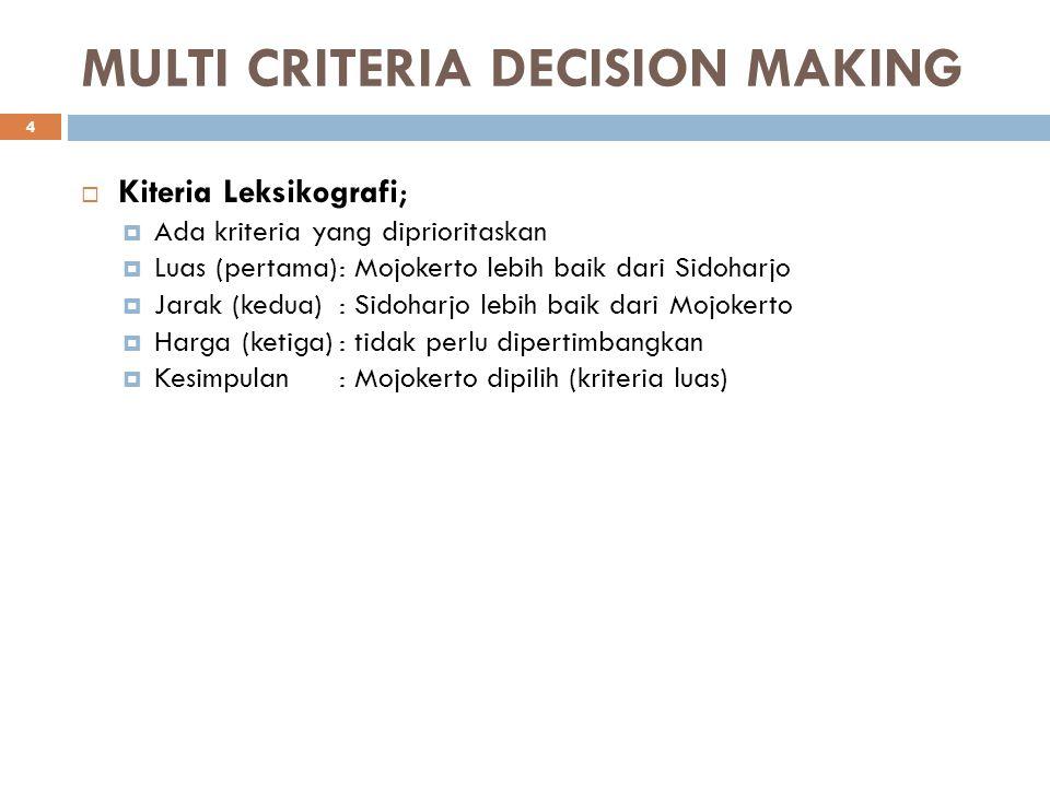 MULTI CRITERIA DECISION MAKING  Kiteria Leksikografi;  Ada kriteria yang diprioritaskan  Luas (pertama): Mojokerto lebih baik dari Sidoharjo  Jara
