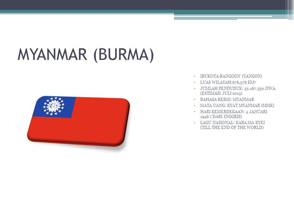 MYANMAR (BURMA)  IBUKOTA:RANGOON (YANGON)  LUAS WILAYAH:676,578 KM 2  JUMLAH PENDUDUK: 55.167.330 JIWA (ESTIMASI JULI 2013)  BAHASA RESMI: MYANMAR