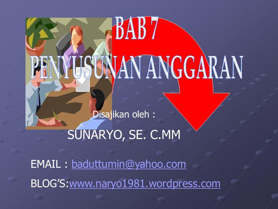 Disajikan oleh : SUNARYO, SE. C.MM EMAIL : baduttumin@yahoo.combaduttumin@yahoo.com BLOG'S:www.naryo1981.wordpress.comwww.naryo1981.wordpress.com