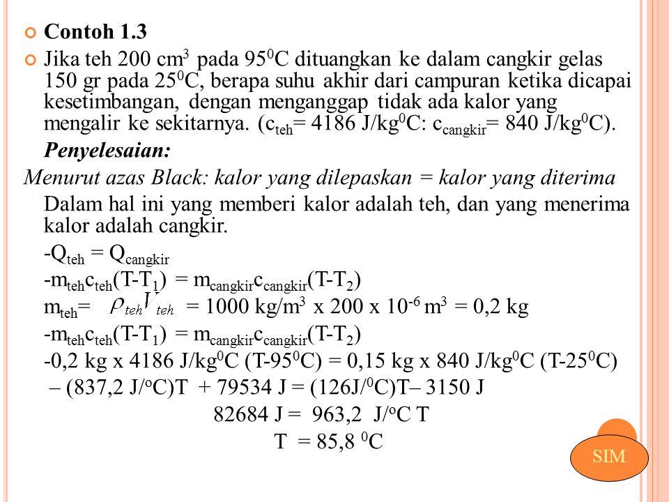 Contoh 1.3 Jika teh 200 cm 3 pada 95 0 C dituangkan ke dalam cangkir gelas 150 gr pada 25 0 C, berapa suhu akhir dari campuran ketika dicapai kesetimb