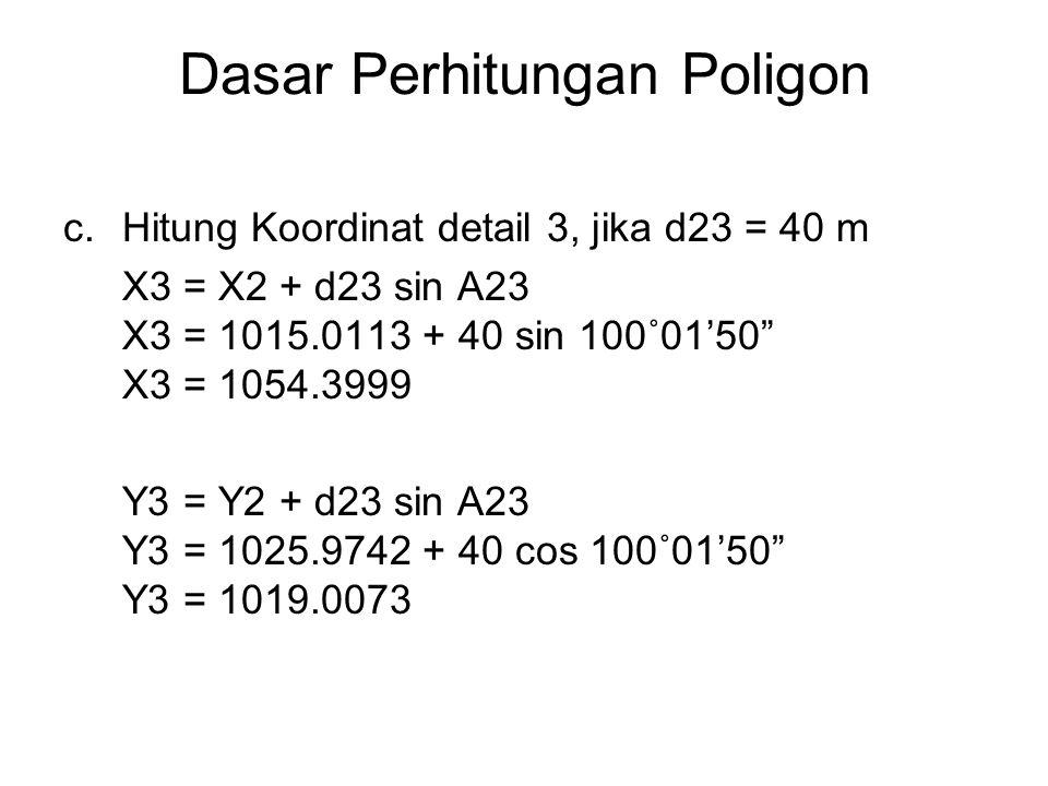 Dasar Perhitungan Poligon c.Hitung Koordinat detail 3, jika d23 = 40 m X3 = X2 + d23 sin A23 X3 = 1015.0113 + 40 sin 100˚01'50 X3 = 1054.3999 Y3 = Y2 + d23 sin A23 Y3 = 1025.9742 + 40 cos 100˚01'50 Y3 = 1019.0073