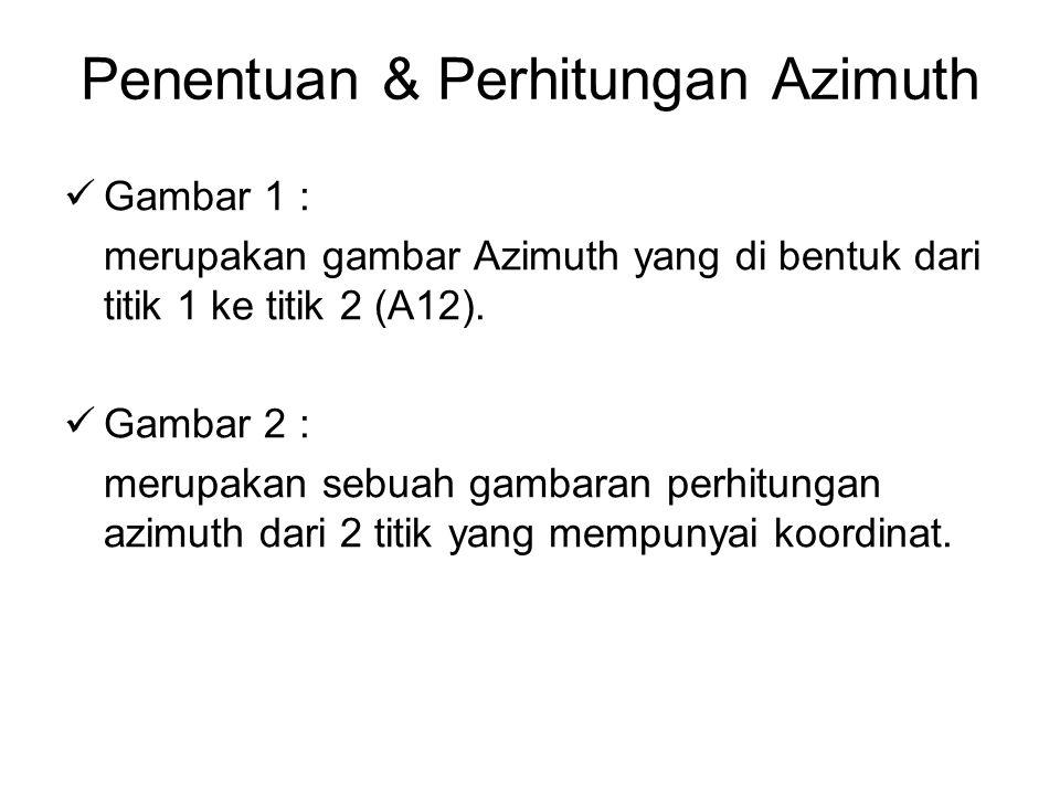 Penentuan & Perhitungan Azimuth Pada gambar 2 Jika pada titik 1 dan 2 mempunyai sebuah koordinat sebagai berikut: X1 = 900 Y1 = 980 X2 = 1000 Y2 = 1000 B1 = 200º05'10 Maka azimuth dari titik 1 ke titik 2 (A12) dapat dihitung.