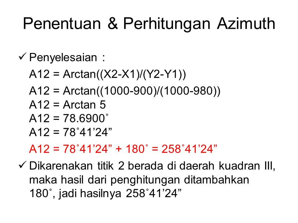 Penentuan & Perhitungan Azimuth Penyelesaian : A12 = Arctan((X2-X1)/(Y2-Y1)) A12 = Arctan((1000-900)/(1000-980)) A12 = Arctan 5 A12 = 78.6900˚ A12 = 78˚41'24 A12 = 78˚41'24 + 180˚ = 258˚41'24 Dikarenakan titik 2 berada di daerah kuadran III, maka hasil dari penghitungan ditambahkan 180˚, jadi hasilnya 258˚41'24